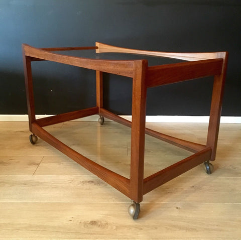 Vintage Mid Century Danish Teak Drinks Trolley With Glass Shelves  1960's 1970's