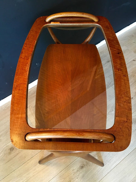 Vintage Danish Influence Bentwood  Buffet Server Butler Tray Drinks Trolley 1960
