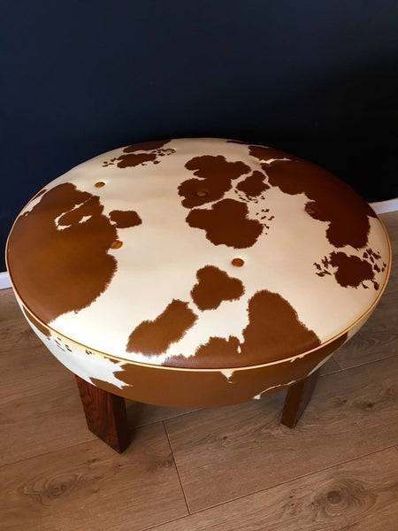 Vintage Danish Footstool Rosewood And Cow Hide Faux Leather  Pouffe Retro 1970's