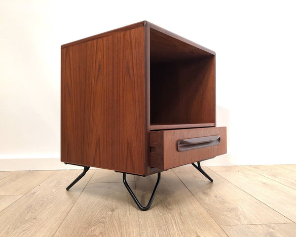 Mid Century Vintage G Plan Fresco Teak Bedside Cabinet With Hairpin Legs