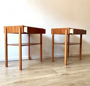 Superb Mid Century Scandinavian Nightstands with one drawer and lower shelf.