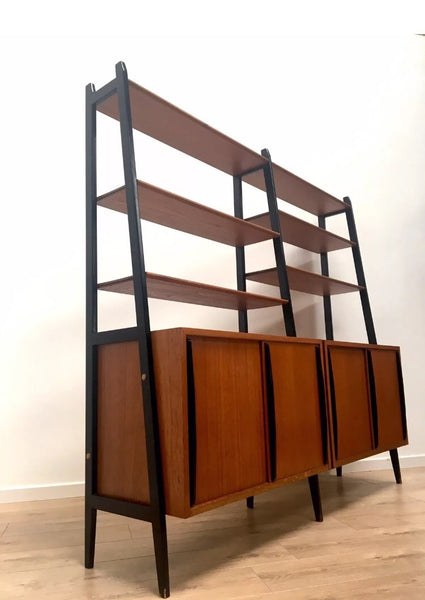 Stunning Mid Century Swedish Vintage Teak Freestanding Wall Shelving Unit