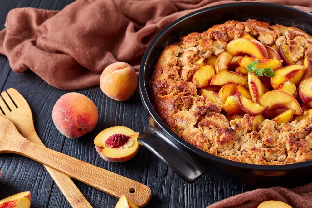 PERFECT PEACH COBBLER WITH A SPRINKLE OF CINNAMON