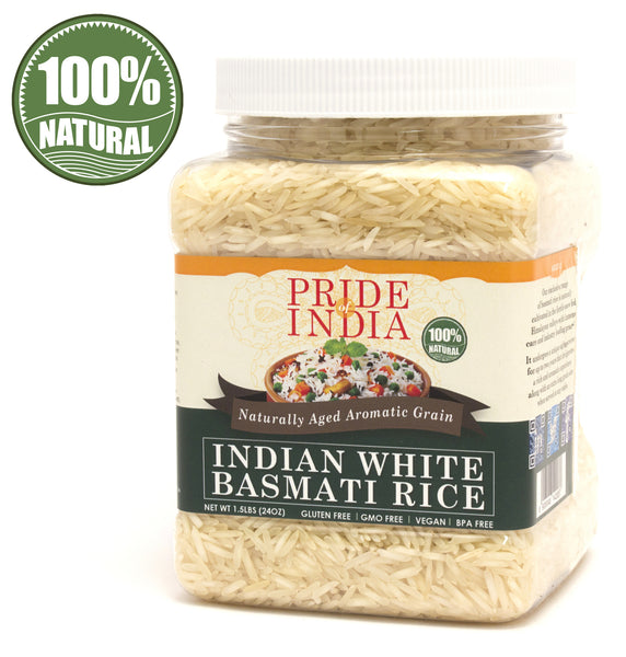 Extra Long Indian White Basmati Rice - Naturally Aged Aromatic Grain Jar - Pride Of India
