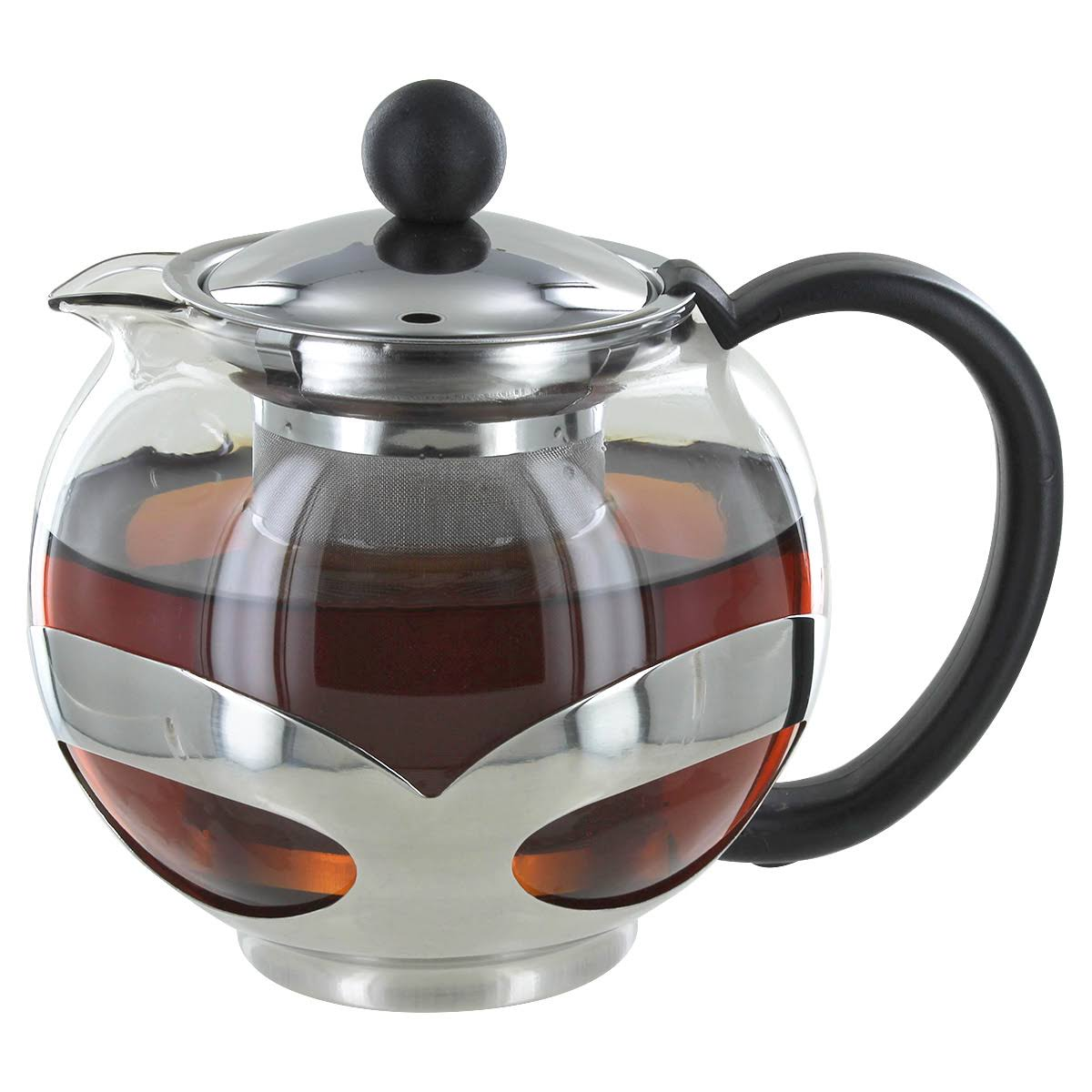 Metallic Glass Tea Pot for 2 or More w/ Removable Steel Infuser - Pride Of India