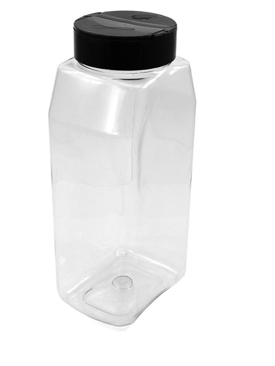 Clear PET Plastic Grip Dry/Liquid Food Storage Jars w/ Caps - BUY 1 - GET 1 FREE (Food Grade - BPA Free)