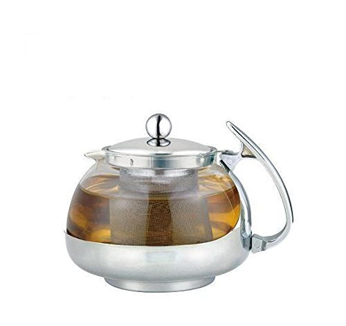 Heat Resistant Glass 3-Cup Tea Pot w/ Rust Free Infuser, 24 Fluid Ounces - Pride Of India