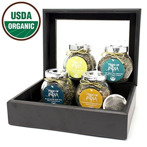 Herbal Infusion Organic Decaf Tea Gift Chest - 4 Tea Jars - Tulsi, Mint, Lemongrass, Chamomile - Pride Of India