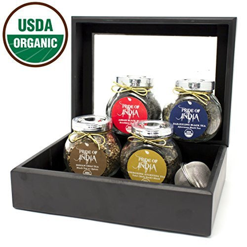 Organic Indian Black Tea Gift Chest - 4 Tea Jars - Assam Black, Darjeeling Black, Spice Chai, Herbal Black - Pride Of India