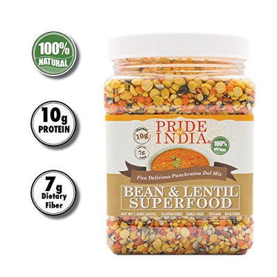 Indian Bean & Lentil Superfood - Five Delicious Panchratna Dal Mixed Jar - Pride Of India