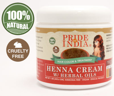 Herbal Henna Hair Color Cream - 100% Natural, 1 Pound (16oz - 454gm) Jar - Pride Of India