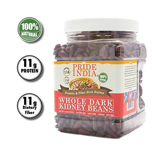 Indian Whole Dark Kidney Beans - Protein & Fiber Rich Rajma Jar - Pride Of India