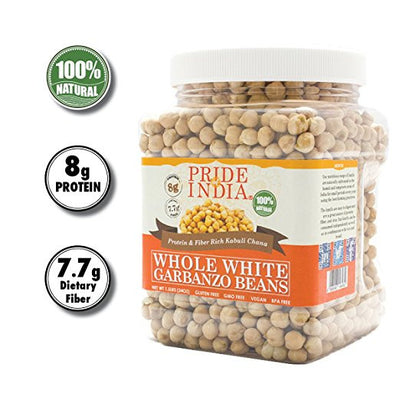 Indian Whole White Garbanzo Beans 10mm - Protein & Fiber Rich Kabuli Chana Jar - Pride Of India