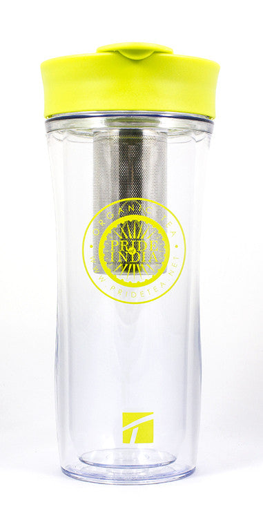 Portable Travel Tea For One - Double Walled Tumbler w/ Removable Steel Infuser, 14 Fl. oz (414ml) - Pride Of India