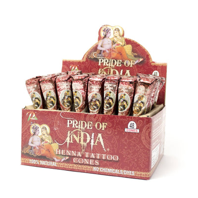 Henna Tattoo Paste - 1.25oz Ready to Use Cones - 100% Natural - Pride Of India