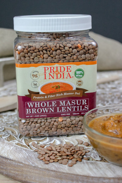 Indian Whole Brown Crimson Lentils - Protein & Fiber Rich Masoor Whole Jar