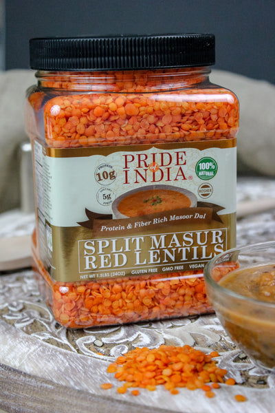 Indian Split Masur Red Lentils - Protein & Fiber Rich Masoor Dal Jar