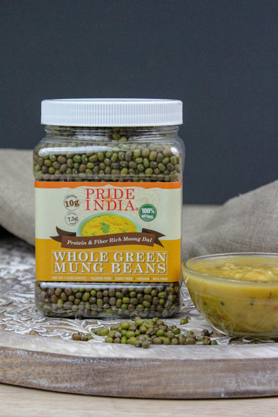 Indian Whole Green Mung Gram - Protein & Fiber Rich Moong Whole Jar - Pride Of India