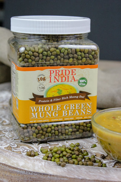 Indian Whole Green Mung Gram - Protein & Fiber Rich Moong Whole Jar