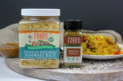Extra Long Indian Golden Basmati Rice - Healthy Parboiled Sella Grain Jar