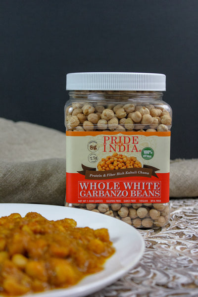 Indian Whole White Garbanzo Beans 10mm - Protein & Fiber Rich Kabuli Chana Jar
