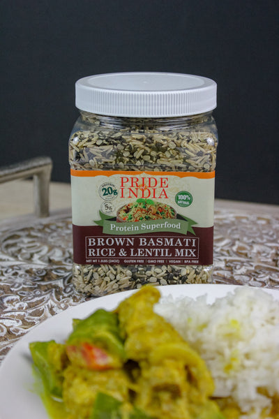 Indian Brown Basmati Rice & Lentil Kitchari Mix - Protein Superfood Jar