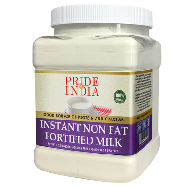 Instant Fortified Nonfat Dry Milk Powder - Enriched w/ Vitamin D, Protein & Calcium - 1 lbs (16oz) Jar