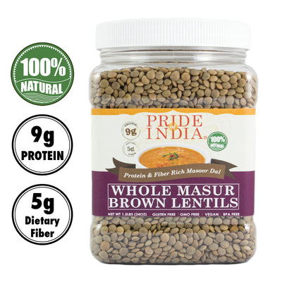 Indian Whole Brown Crimson Lentils - Protein & Fiber Rich Masoor Whole Jar - Pride Of India
