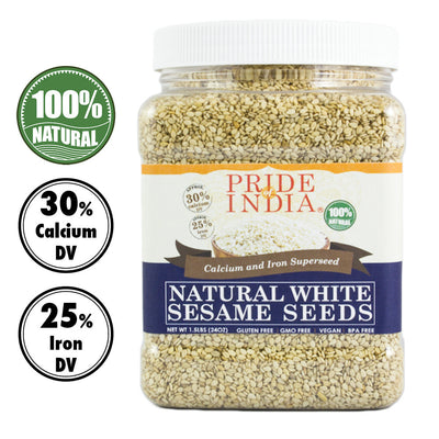 White Sesame Seeds Raw Unhulled - Calcium & Iron Superfood Jar - Pride Of India