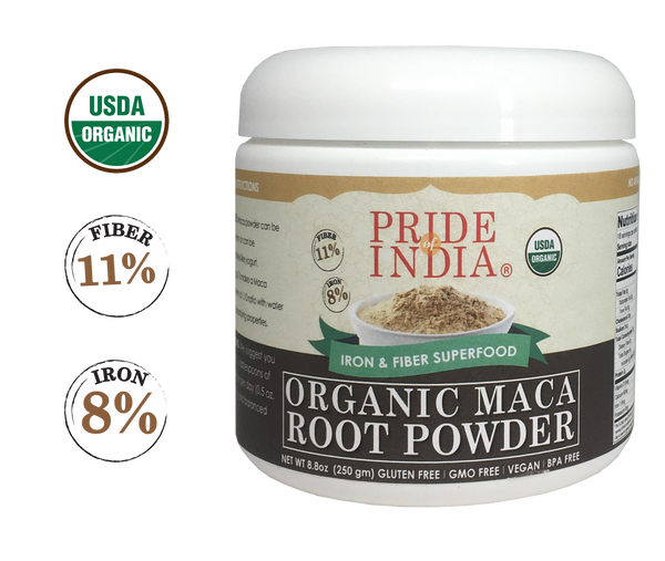 Organic Premium Raw Maca Powder - Iron & Fiber Rich Superfood - 8.82oz (250gm) Jar