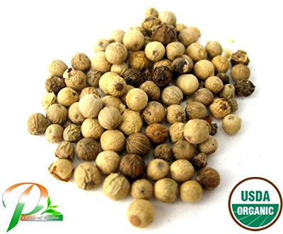 Organic White Peppercorn Whole, 3.53oz (100gm) Pack - Pride Of India