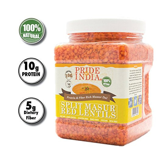 Indian Split Masur Red Lentils - Protein & Fiber Rich Masoor Dal Jar - Pride Of India