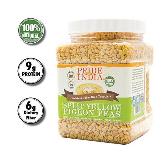 Indian Split Yellow Pigeon Peas - Protein & Fiber Rich Toor Dal Jar - Pride Of India
