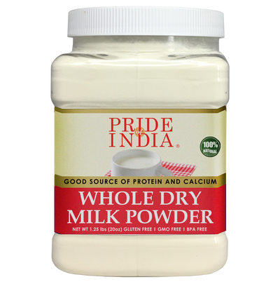Whole Dry Milk Powder - Protein & Calcium Rich - 1.25 lbs (20oz) Jar - Pride Of India