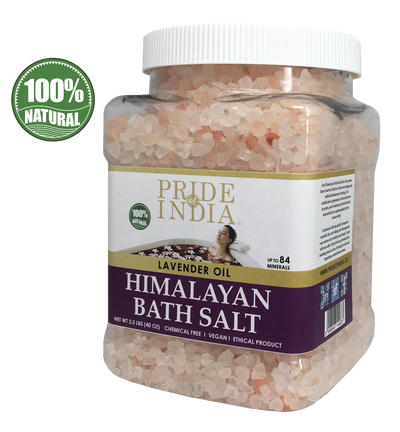 Himalayan Pink Bathing Salt - Enriched w/ Lavender Oil and 84+ Minerals, 2.5 Pound (40oz) Jars - Pride Of India
