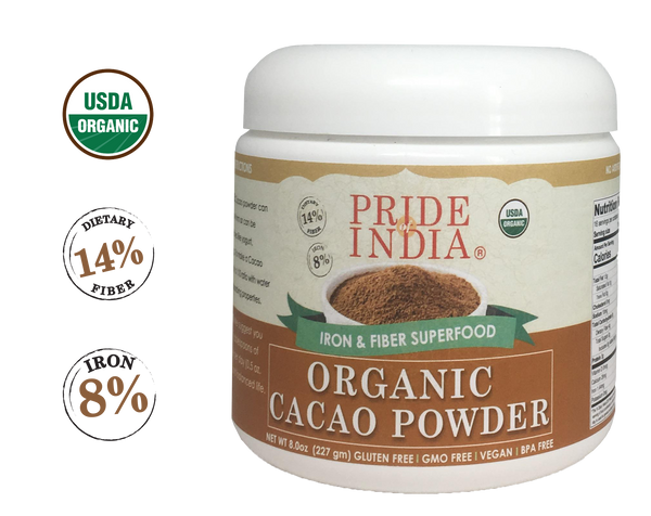 Organic Premium Cacao Powder - Iron & Fiber Rich Superfood - 8oz (227gm) Jar