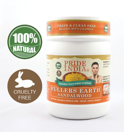 Fuller's Earth Deep Cleansing Clay Powder w/ Sandalwood, Half Pound (8oz - 227gm) Jar - Pride Of India