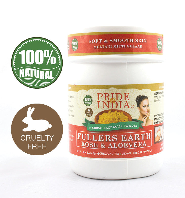 Fuller's Earth Deep Cleansing Clay Powder w/ Rose & Aloevera, Half Pound (8oz - 227gm) Jar - Pride Of India