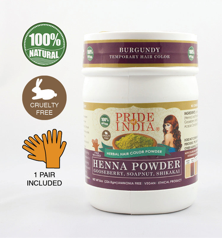 Herbal Henna Hair Color Powder w/ Gloves - Burgundy, Half Pound (8oz - 227gm) Jar - Pride Of India