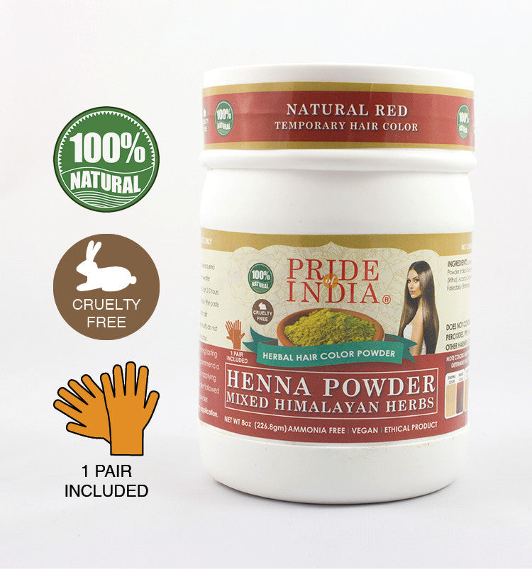 Herbal Henna Hair Color Powder w/ Gloves - Natural Red
