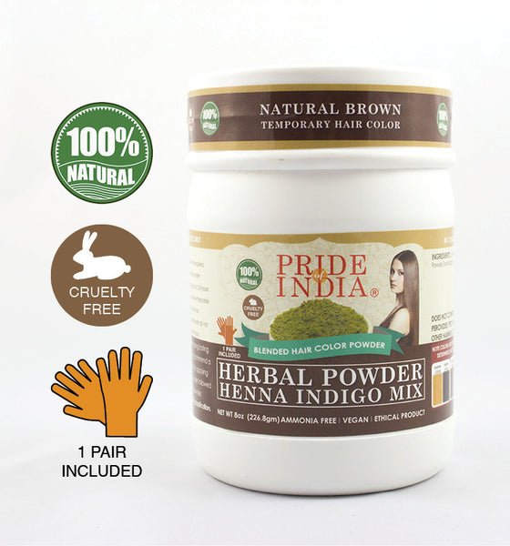 Herbal Henna & Indigo Mix Hair Color Powder w/ Gloves - Natural Brown, Half Pound (8oz - 227gm) Jar - Pride Of India