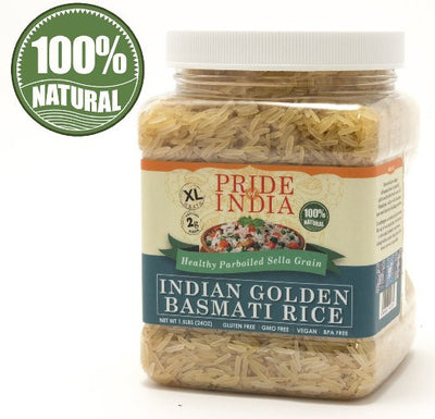Extra Long Indian Golden Basmati Rice - Healthy Parboiled Sella Grain Jar - Pride Of India