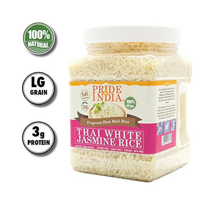 Thai White Jasmine Rice - Hom Mali Fragrant Long Grain Jar - Pride Of India