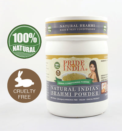 Natural Brahmi Bacopa Herbal Hair & Skin Conditioning Powder, Half Pound (8oz - 227gm) Jar - Pride Of India