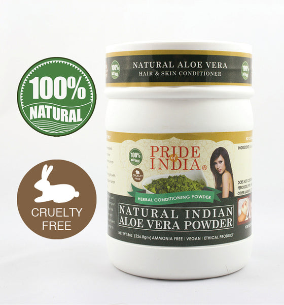Natural Aloevera Herbal Hair & Skin Conditioning Powder, Half Pound (8oz - 227gm) Jar - Pride Of India