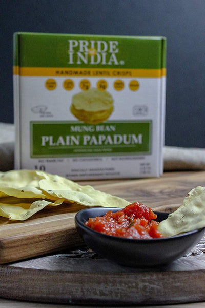 Assorted Papadum Lentil Crisps - Plain, Salty & Spicy - Pride Of India