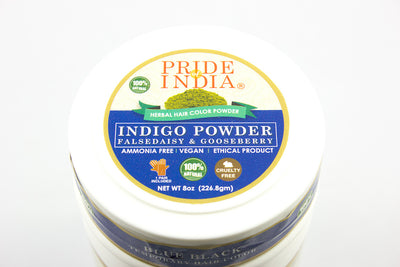 Herbal Indigo Hair Color Powder w/ Gloves - Blue Black, Half Pound (8oz - 227gm) Jar - Pride Of India
