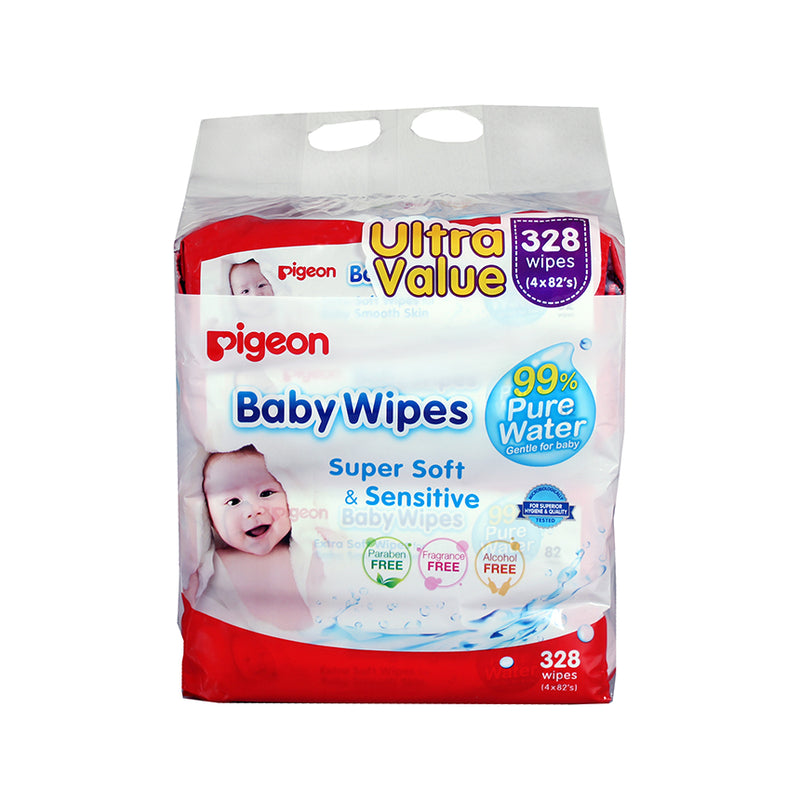 Pigeon Baby Wipes 82's 99% Water 4-in-1 Refill Pack