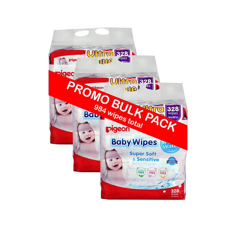 Pigeon Baby Wipes 82's 99% Water 3x 4-in-1 Refill Pack