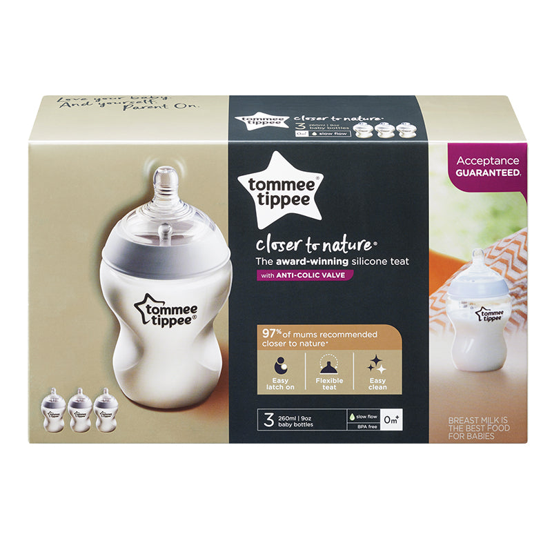 Tommee Tippee 260ml Bottle 0m+ - 3-Pack